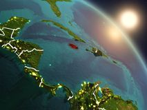 Jamaica do espaço durante o nascer do sol Imagem de Stock Royalty Free