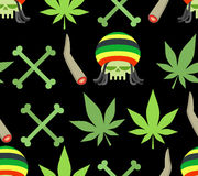 Jamaica drugs seamless pattern. Rasta skull and leaf cannabis. S. PLIFF and bones. Smoking pushing drugs Stock Photos