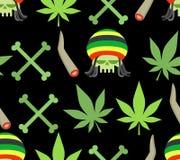 Jamaica drugs seamless pattern. Rasta skull and leaf cannabis. S Stock Photos