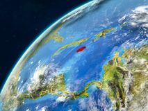 Jamaica on Earth with borders. Jamaica on realistic model of planet Earth with country borders and very detailed planet surface and clouds. 3D illustration stock photography