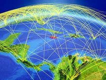 Jamaica on Earth with network. Jamaica on planet Earth with international network representing communication, travel and connections. 3D illustration. Elements royalty free stock images