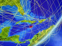 Jamaica on Earth with network. Jamaica on model of planet Earth with network at night. Concept of new technology, communication and travel. 3D illustration vector illustration