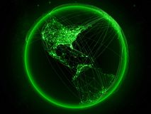 Jamaica on Earth with network. Jamaica from space on planet Earth with green network representing international communication, technology and travel. 3D royalty free illustration