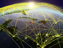 Jamaica on Earth with networks. Jamaica on planet Earth during dawn with international network representing communication, travel and connections. 3D vector illustration