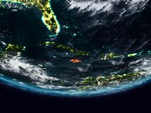 Jamaica during night. Jamaica on Earth at night with visible country borders. 3D illustration. Elements of this image furnished by NASA royalty free stock photo