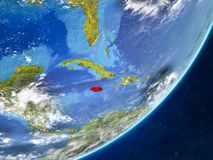 Jamaica on Earth from space. Jamaica on model of planet Earth with country borders and very detailed planet surface and clouds. 3D illustration. Elements of this stock illustration