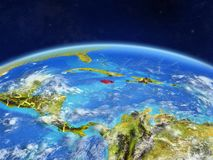 Jamaica on Earth from space. Jamaica on planet Earth with country borders and highly detailed planet surface and clouds. 3D illustration. Elements of this image stock images