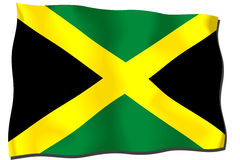 Jamaica Flag. Flag of Jamaica waving in the wind Vector Illustration