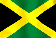 Jamaica Flag. Flag of Jamaica waving in the wind Stock Illustration