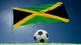 Jamaica flag fluttering and football rolls. Flag of Jamaica fluttering and a fsoccer ball rolls on the lawn, 3d rendering royalty free illustration