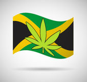 Jamaica flag with a hemp leaf Royalty Free Stock Photo