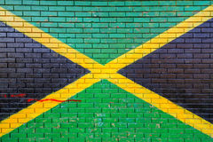 Jamaica flag painted on brick wall Royalty Free Stock Photography