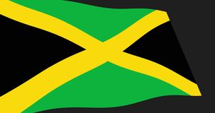 The Jamaica flag slow waving in perspective, Animation 4K footage. Animation 4K footage of Jamaica flag slow waving on black background, perspective view vector illustration