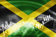Jamaica flag, stock market, exchange economy and Trade, oil production, container ship in export and import business and logistics. Background, banner, black royalty free illustration