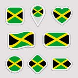 Jamaica flag vector set. Jamaican national flags stickers collection. Isolated geometric icons. Web, sports pages, patriotic, trav vector illustration