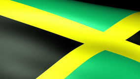 Jamaica Flag Waving. Against black vector illustration