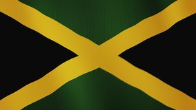 Jamaica flag waving animation. Full Screen. Symbol of the country. 4K stock illustration
