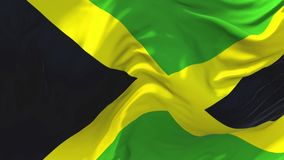 Jamaica Flag Waving in Wind Continuous Seamless Loop Background. Jamaica Flag Waving in Wind Slow Motion Animation . 4K Realistic Fabric Texture Flag Smooth stock illustration