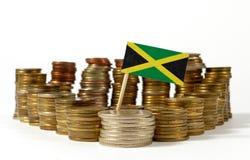 Jamaica flagga med bunten av pengarmynt Royaltyfria Foton