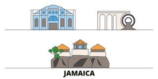Jamaica flat landmarks vector illustration. Jamaica line city with famous travel sights, skyline, design. Jamaica flat landmarks vector illustration. Jamaica royalty free illustration
