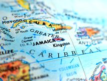 Jamaica focus macro shot on globe map for travel blogs, social media, website banners and backgrounds. Jamaica focus macro shot on globe map for travel blogs stock image