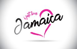 Jamaica I Just Love Word Text with Handwritten Font and Pink Heart Shape. Vector Illustration stock illustration