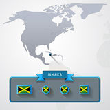 Jamaica info card. Jamaica on the map of North America with flags Royalty Free Stock Photography