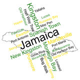 Jamaica Map and Cities. Jamaica map and words cloud with larger cities stock illustration