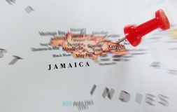 Jamaica map. Closeup of a map of Jamaica with red pin Stock Photo
