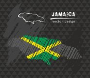 Jamaica map with flag inside on the black background. Chalk sketch vector illustration Royalty Free Stock Photos