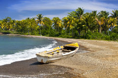 Jamaica. A national boat on sandy coast Stock Photography