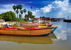 Jamaica. National boats on the Black river. Royalty Free Stock Photos
