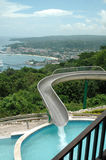 Jamaica, Ocho Rios. The country of Jamaica seen from a window of a restaurant over looking the bay area where cruise lines come in. Mystic Mountain, where you royalty free stock image