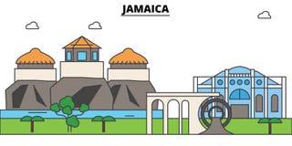 Jamaica outline skyline, jamaician flat thin line icons, landmarks, illustrations. Jamaica cityscape, jamaician travel Royalty Free Stock Photo