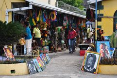 JAMAICA PEOPLE. People on street souvenir market, Ocho Rios, Jamaica Stock Images