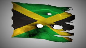 Jamaica perforated, burned, grunge waving flag loop alpha stock video