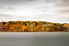 Jamaica Pond in the autumn season. royalty free stock photography