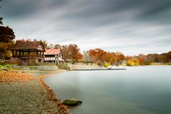 Jamaica Pond boathouse in the autumn season. stock images