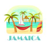 Jamaica beach and ocean, coastline with palms royalty free illustration