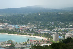 Jamaica`s Resort Town. The aerial view of Ocho Rios, the resort town in Jamaica Stock Photo