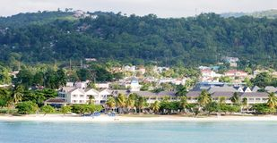 Jamaica's Resorts. The panoramic view of Ocho Rios town resorts (Jamaica Stock Images