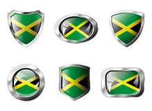 Jamaica set shiny buttons and shields of flag Royalty Free Stock Photo