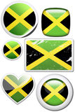 Jamaica - Set of stickers and buttons. Glossy and colorful stickers with reflection set Royalty Free Stock Photo
