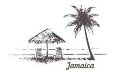 Jamaica skissar sunbeds under strandparaplyet, Palm Beach Illustration för vektor för tappning för Jamaica hand utdragen royaltyfri illustrationer