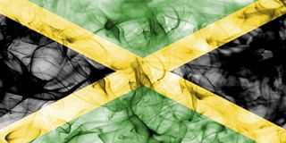 Jamaica smoke flag isolated on a white background. Jamaica smoke flag isolated on a white background Stock Photography