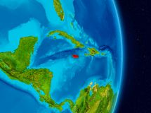 Jamaica from space. Country of Jamaica in red on planet Earth. 3D illustration. Elements of this image furnished by NASA royalty free stock images