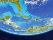 Jamaica from space on Earth. Jamaica on realistic model of planet Earth with country borders and very detailed planet surface and clouds. 3D illustration stock illustration