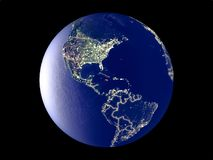 Jamaica on Earth from space. Jamaica from space on model of planet Earth with city lights. Very fine detail of the plastic planet surface and cities. 3D royalty free stock photos