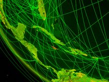 Jamaica from space with network. Jamaica on digital planet Earth from space with network. Concept of international communication, technology and travel. 3D royalty free illustration