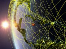 Jamaica from space with network. Jamaica from space on model of Earth during sunset with international network. Concept of digital communication or travel. 3D vector illustration